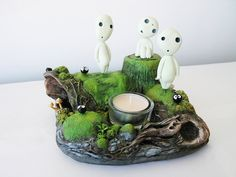 Items similar to The Kodama Forest on Etsy Polymer Clay Projects, Polymer Clay Creations, Polymer Clay Art, Diy Clay, Totoro, Clay Christmas Decorations, Moss Plant, Biscuit, Gamers Anime