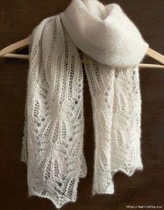 Ажурный шарф спицами. Схема (3) (548x700, 271Kb)