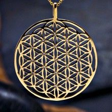 Flower of Life Pendant - Gold With Diamonds
