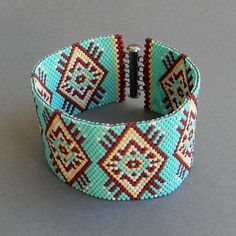 Turquoise peyote cuff seed bead bracelet ethnic by Anabel27shop