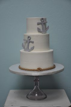 Today's nautical inspired wedding cake with combed butter cream, edible ship's line & anchors
