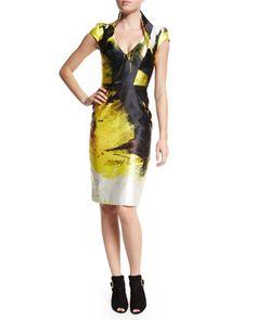 Anemone+Cap-Sleeve+Sheath+Dress,+Black/Yellow+by+Rubin+Singer+at+Neiman+Marcus.