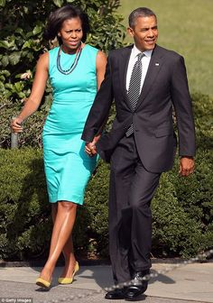 Couple: The decline of Obama's credit card meant that his wife had to pay for the meal. Above, the couple