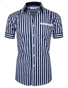 Tom's Ware Mens Casual Vertical Striped Short Sleeve Shirt TWNEL622-NAVY-US L  Go to the website to read more description.