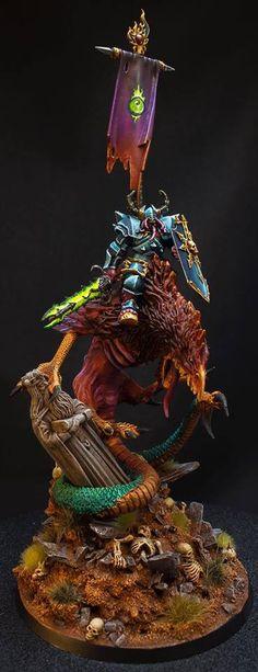 Warhammer Age of Sigmar Warhammer 40k Art, Warhammer Models, Warhammer 40k Miniatures, Warhammer Fantasy, Chaos Lord, Age Of Sigmar, Chaos Theory, Fantasy Miniatures, Mini Paintings