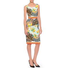 Dolce & Gabbana Fan-Print Silk Charmeuse Sheath Dress ($1,190) ❤ liked on Polyvore featuring dresses, multi, print sheath dress, pencil dress, sleeveless dress, boat neck dress y boatneck sheath dress