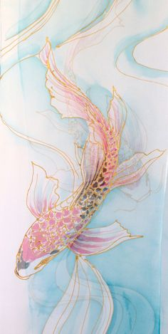 This hand painted silk scarf is hand painted in beautiful, calming pastel blue. The tranquility of the quietly floweing water is enchented by the beautifully hand painted two red butterfly koi fish. This silk scarf is made of a pure silk chiffon scarf. This scarf will make a