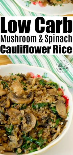 Low Carb Mushroom & Spinach Cauliflower Rice easyrecipe cauliflowerrice lowcarbmeal lowcarbdiet goodfood is part of Cauliflower rice recipes healthy - Healthy Rice Recipes, Keto Recipes, Healthy Mushroom Recipes, Dinner Recipes, Veggie Recipes, Healthy Winter Recipes, Pasta Recipes, Veggie Dishes, Veggie Food