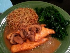 Chicken, mushrooms, along with rice and kale