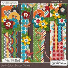 Project 2014 March: Life In Color - Digital Scrapbook  Border Clusters. $2.99 at Gotta Pixel. www.gottapixel.net/
