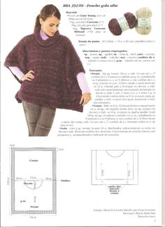 Craze lines - knitting, crochet and loom: Poncho TurtleneckOur females' vests and discover elegant quilted gilets of top, generated to keep you stylishly warmer on cool days.This post was discovered by pieces same width different lengths Crochet Poncho Patterns, Crochet Coat, Knitted Poncho, Crochet Shawl, Crochet Yarn, Knitting Patterns, Diy Crafts Knitting, Loom Knitting, Hand Knitting