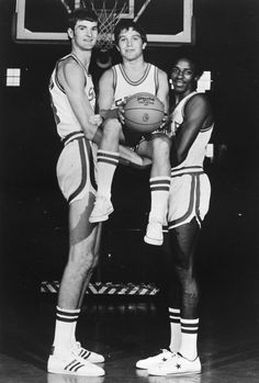 Circa 1975 - Tommy Burleson, Monte Towe, and David Thompson, N.C. State University basketball