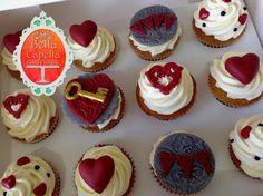 """Key to My Heart"" Valentine's Day cupcakes in vanilla.   Cakes from Bella Capella Culinary Delights in Capella, Queensland's Central Highlands, Australia. Contact: bellacapella@bigpond.com www.facebook.com/bellacapellaculinarydelights"