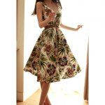 Wholesale Vintage Halterneck Floral Print Sleeveless Pleated Cute Country Western Dresses For Women (AS THE PICTURE,M), Vintage Dresses - Rosewholesale.com