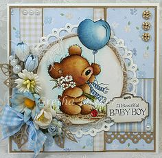 """The card corner of Gretha: Lili of the Valley """"Teddy with Balloon '"""