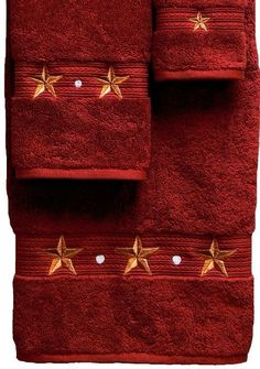 """Barn Star"""" Western Towel Set - Garnet Red The finest in western towels. - Egyptian Cotton Includes: Bath Towel: x Hand Towel: x Wash Cloth: x 12 Western Bathroom Decor, Western Decor, Western Bathrooms, Country Decor, Texas Home Decor, Small Candle Holders, Egyptian Cotton Towels, Barn Living, Texas Star"""