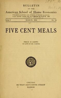 Five Cent Meals By American School For Home Economics  Archive