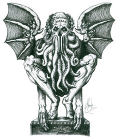 """Cthulhu is described as """"an octopus, a dragon, and a human caricature"""" with a """"pulpy, tentacled head surmounted a grotesque scaly body with rudimentary wings""""."""