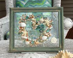 Seashell Art for Beach Wedding Gift, Valentine's Day Decor, Valentine Gift for Beach Lover, Heart Decoration, seashell art on glass by SeaSideCreations1 on Etsy