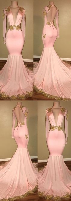 Gorgeous Long Sleeve V-Neck Prom Dress 2018 Mermaid With Gold Crystal, M1288#prom #promdress #promdresses #longpromdress #promgowns #promgown #2018style #newfashion #newstyles #2018newprom #eveninggown #mermaidpromdress #pink #longsleeve #vneck #goldcrystal