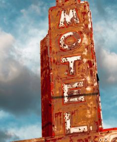 "Motel Sign, Rust, Red and White, Route 66-8 x 10"". $40.00, via Etsy."