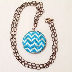 Turquoise Chevron Necklace Stylish Cross by SynapsetoSynapse, $27.00
