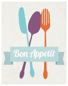 Bon Appetit kitchen art flatware utensil by GraphicAnthology