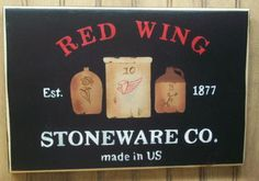 $29.98 plus shipping  Primitive Country Wood Sign - RED WING Crock Stoneware  Please take a look at our other items offered in our Ebay Store  -  CreekSideContry