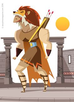 Hercules and the Lion in Storytime Issue 24 – an awesome Greek myth illustrated by Ricardo Fernandez (http://ricardofernandezilustrador.blogspot.co.uk) ~ STORYTIMEMAGAZINE.COM