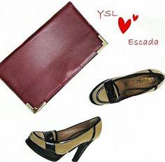 💕Escada Clutch RM399 (£75€90$95) maroon calfskin w gold hardware L33H19W6cm.Good condition. 💕YSL pump Sz36.5 RM439(£80€100$100)black patent leather with brown velvet.good condition. 🎁Redeem it free with Maybank or CIMB credit card points🎁 🌟114 Jalan Maarof Bangsar KL Tel+ 6 010 2203384. 🌟20 G Floor Great Eastern Mall Ampang KL Tel+ 6 03 42510013. #escada #escadaclutch #ysl #yslparis #yslshoe #yslpumps #yslhighheel #clutches #clutch #escadabag #brandrepsearch #brandedbags…