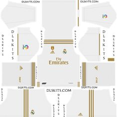 Real Madrid Home, Away, and Third Dream League Soccer Kits Real Madrid Third Kit, Real Madrid Home Kit, Manchester United Away Kit, Real Madrid Manchester United, Real Madrid Goalkeeper, Liverpool Goalkeeper, Soccer Player Costume, Camisa Real Madrid, Arsenal Kit