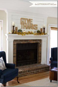 Give Thanks, Thanksgiving Mantel Decor Ideas #thanksgiving #mantel #decor