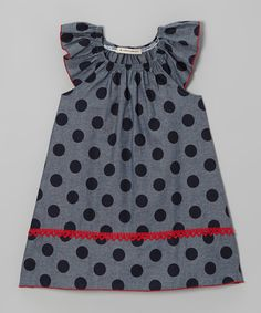 Take a look at this Gray & Navy Polka Dot Angel-Sleeve Dress - Toddler & Girls on zulily today!