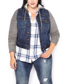 Cool and casual, this plus-size jacket is a fashion essential! You'll love its super soft french terry sleeves and hood with drawstring, as well as its high-quality, stretchy denim fabric, button-up front and chest pockets. A lovely layer to wear with all your outfits!