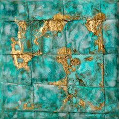 Abstract painting turquoise gold leaf by AtelierMaltopf on Etsy