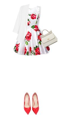 """""""Floral dress"""" by hajra-m ❤ liked on Polyvore featuring Dolce&Gabbana and MANGO"""
