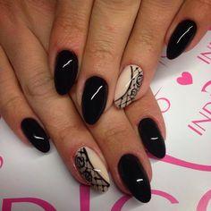 Black & Nude Nails Stylization by Natalia Kondraciuk Indigo Young Team :) More amazing nails stuff you can find at www.indigo-nails.com #nailart #nails #indigo #nude #black How To Do Nails, Fun Nails, Pretty Nails, Shoe Nails, Stiletto Nails, Black And Nude Nails, Lace Nail Design, Indigo Nails, Almond Nails