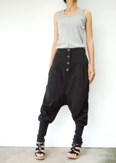 NO.64 Dark Grey Cotton Jersey Casual Baggy Dance Harem Pants