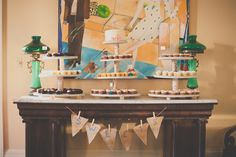 I love this cupcake display for a party...and check out the bicycle cake topper!  New Orleans City Wedding Downtown Benachi House by Hazelwood Photo
