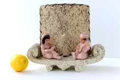 Unique Oriental or Asian Inspired Table Lamp, Chalkware, Girl and Boy Sitting on Divan Reading and Playing Instrument, 1950s