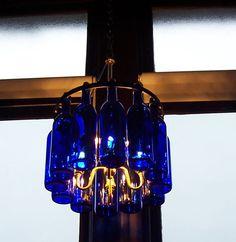 Wine Bottle Chandelier Cobalt Blue with Brass fixture by hmsc93, $275.00