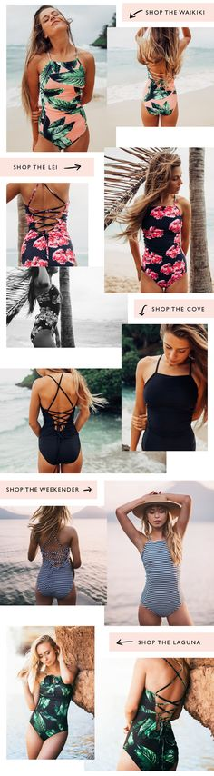 FAVORITE SWIMSUITS! Click to shop! How can you pick just one? Strappy one piece swimming suits available in solid black or a variety of florals! Tighten the back straps to find the perfect fit for you. Maternity friendly, big bust friendly AND great for long torsos.