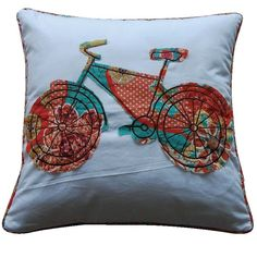 Zanzibar Bicycle Feather Cotton Throw Pillow
