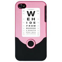 iPhone 4 or 4S Slider Case Pink Optometrist Opthamologist Eye Chart