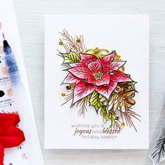 Watercolor Poinsettia & Pine Christmas Card by ZrobySama - Cards and Paper Crafts at Splitcoaststampers