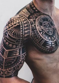 Tribal Tattoos For Men: With Meanings & Healty Tips Tribal Tattoos With Meaning, Tribal Tattoos For Women, Samoan Tribal Tattoos, Tribal Sleeve Tattoos, Tattoo Women, Tribal Women, Tattoo Chest And Sleeve, Arm Tattoo Men, Tattoos Skull