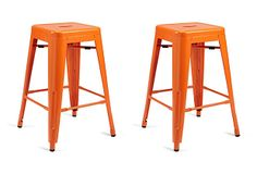 Ella Counter Stool, Orange on OneKingsLane.com oldly rendered in a vibrant orange hue, this pair of metal stools will add a welcome splash of color as well as an industrial-chic edge to your entertaining space.