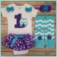 Owl Birthday Bloomer Set/First Birthday/Purple by BabyTrendzz,
