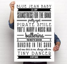 Poster Printable Elton John Tiny Dancer Lyrics Quote Art Print 24x36 by BrightAndBonny on Etsy