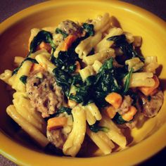 pasta with sweet potato, spinach  chicken sausage